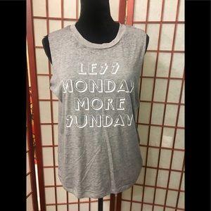 Tops - ⚫️ LESS MONDAY MORE SUNDAY ⚫️ Gray T-shirt NWT🏷